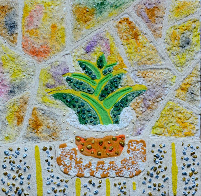 картина Алоэ. Картина из песка и камней, оргалит, 30х30 см