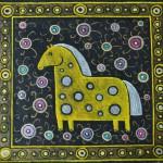 картина Лошадка в цветах, холст, темпера, 40х40 см