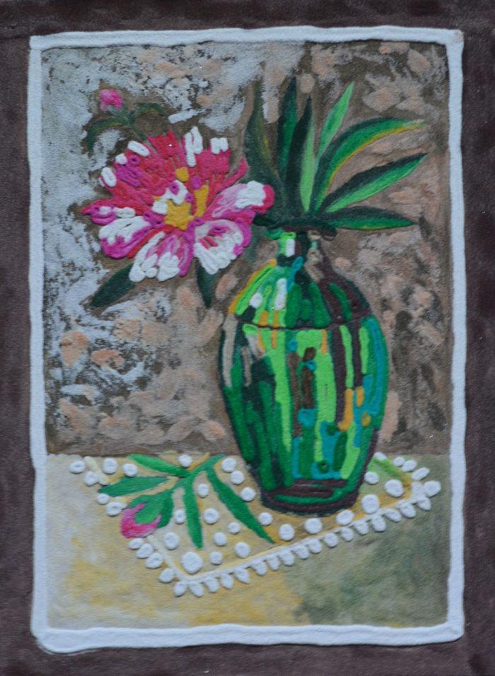 картина Пион в бутылке. Картина из песка, оргалит, 30х40 см