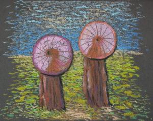 картина Китайские зонтики, декоративная картина для интерьера