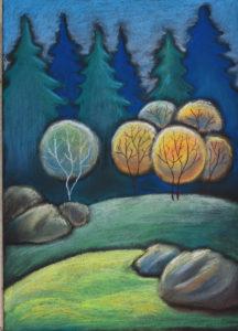картина Солнце в лесу, декоративная картина для интерьера