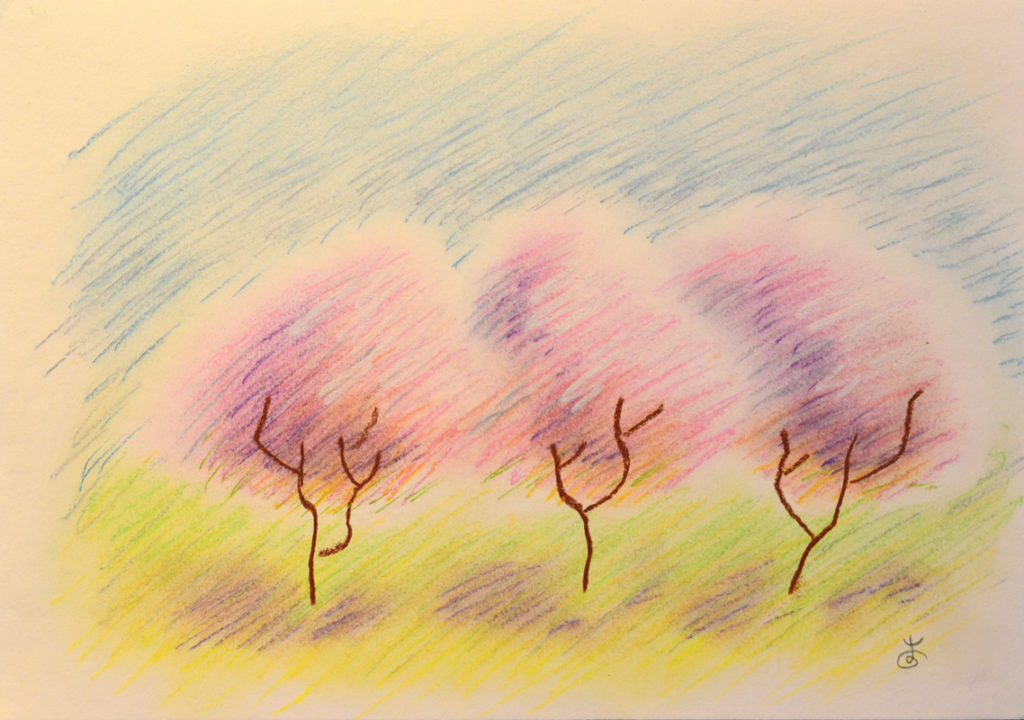 картина Три розовых дерева, декоративная картина для интерьера