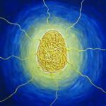 картина Светящееся яйцо. Холст, акрил, 30х30 см