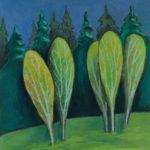 картина Березы на солнце перед дождем. Картон, сухая пастель, 30х40 см, художник Мария Текун