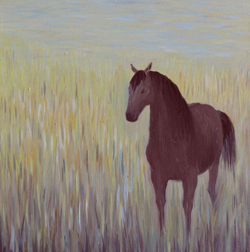 картина Лошадь в траве, холст, масло, 40х40 см