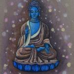 картина Мерцающий Будда. Картон, гуашь, сухая пастель, 30х40 см, художник Мария Текун