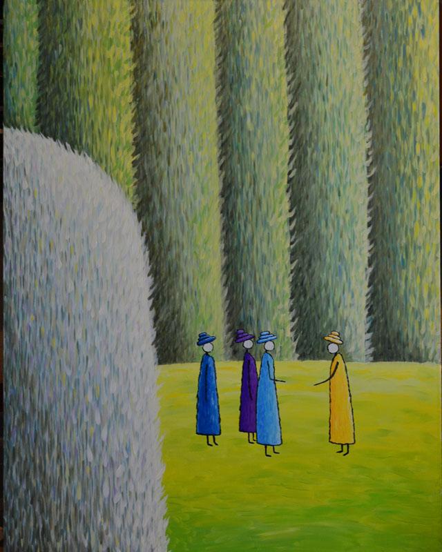 Разговор картина художника, декоративная картина для интерьера, живопись, наивное искусство  необычная картина художник Мария Текун maryatekun.ru