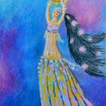 картина Танец, картон, масляная пастель, 30х40 см