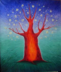 картина Красное дерево,декоративная картина для интерьера