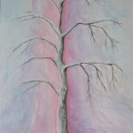 картина Холодное дерево, гуашь, 30х40 см