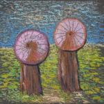 картина Китайские зонтики, картон, масляная пастель, 30х40 см