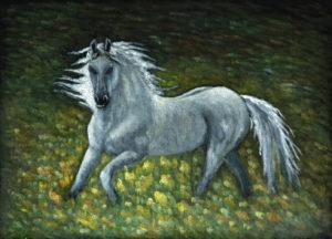 картина Призрак белой лошади выходит из леса. Бархат, темпера, 30х40 см