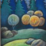 картина Солнце в лесу, картон, сухая пастель, 30х40 см