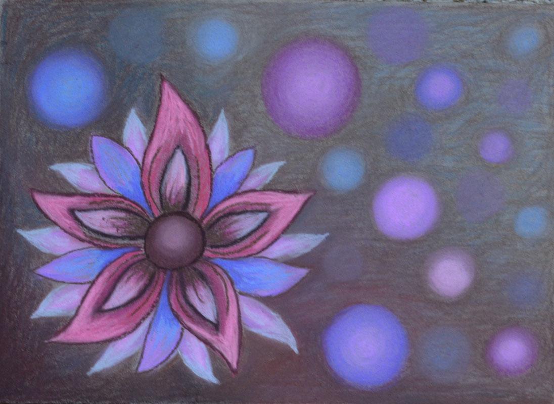 картина Цветение, явление 4, картон, сухая пастель, 30х40 см
