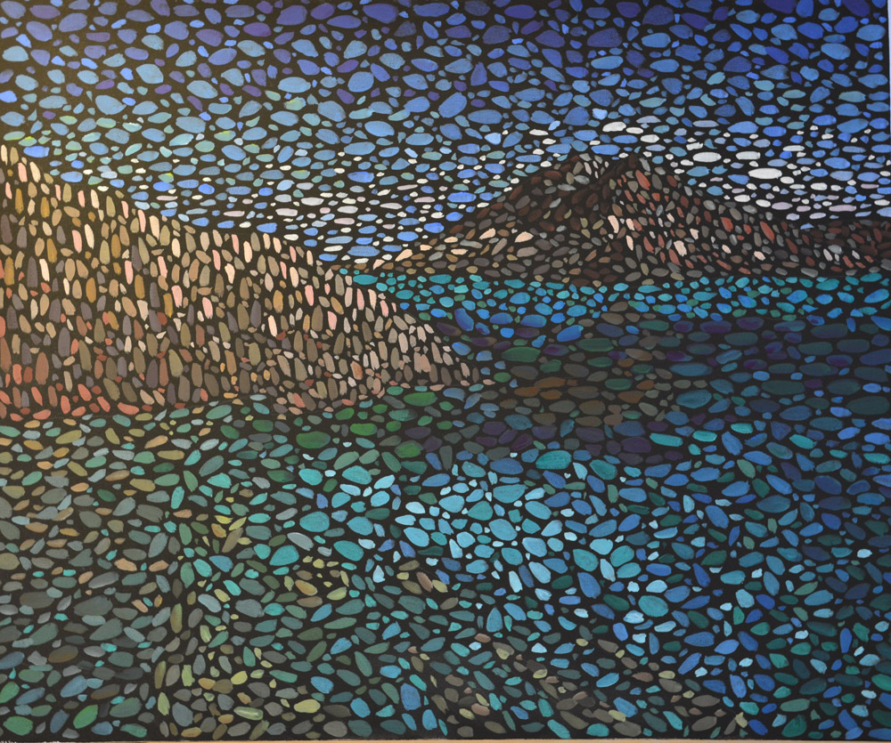 картина У моря, холст, темпера, 50х60 см