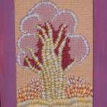 картина Розовое дерево. Декоративная вышивка, шерсть, мулине, 10х15 см