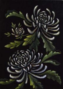 картина Китайские хризантемы. Бархат, темпера, 30х40 см