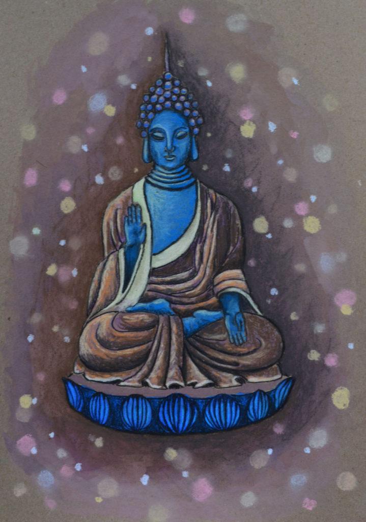 Мерцающий Будда. Картон, гуашь, пастель, 30х40 см