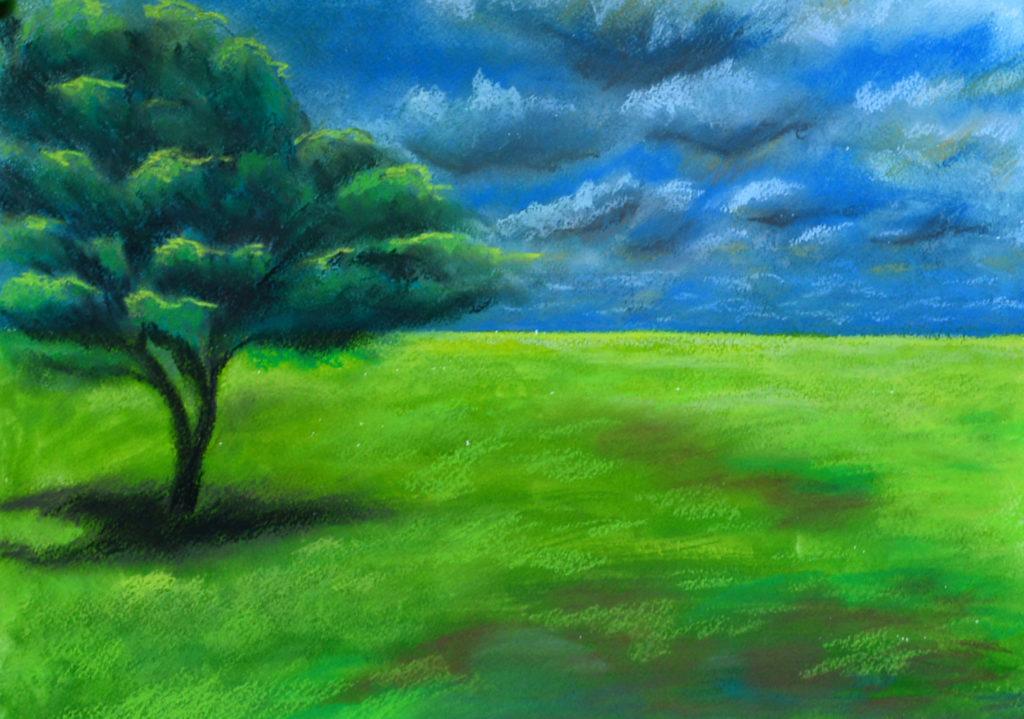 картина Тучи летят. Бумага, гуашь, пастель, 30х40 см, художник Мария Текун maryatekun.ru