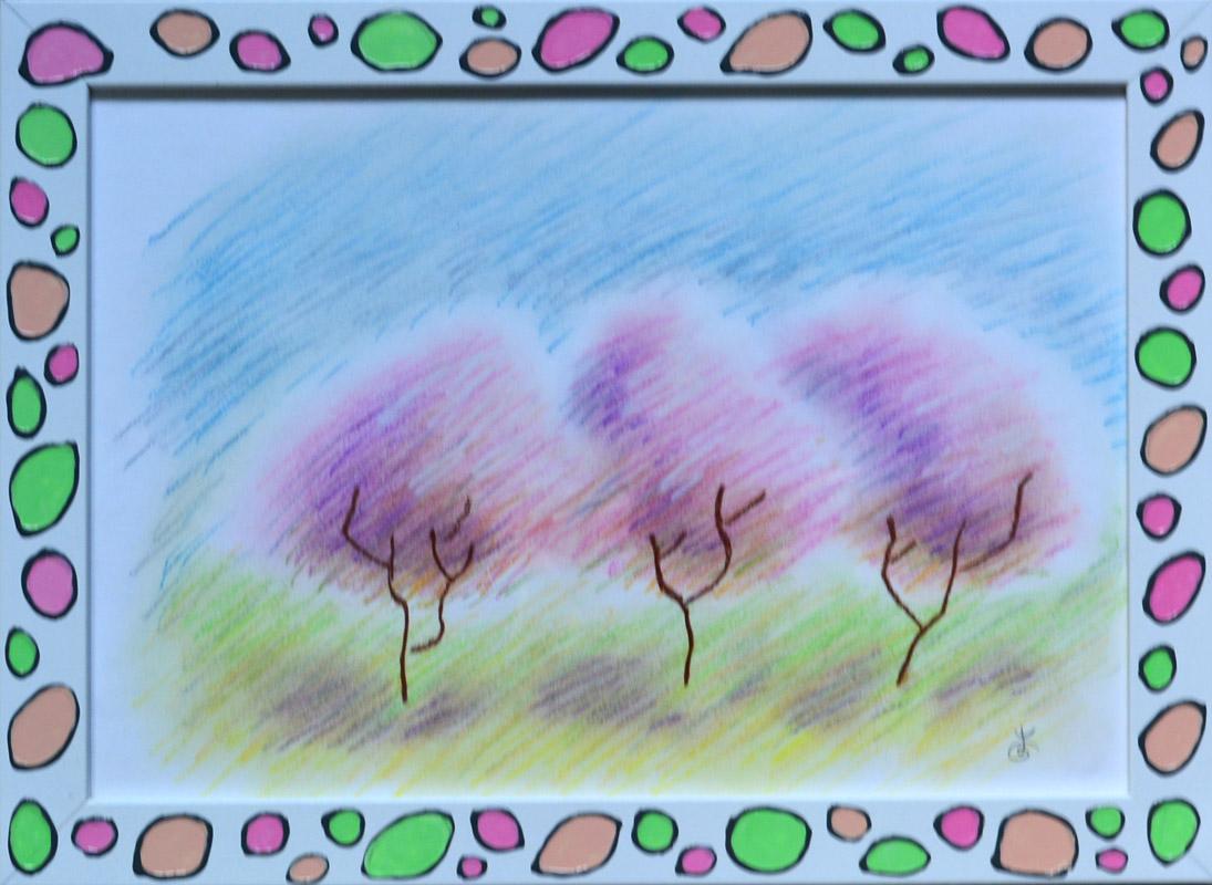 картина Три розовых дерева в рамке