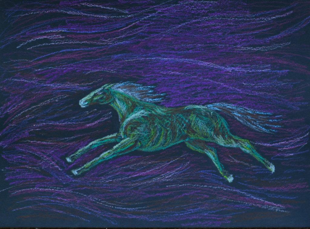 Зеленая лошадь. Картон, масляная пастель, 30х40 см, художник М.Текун maryatekun.ru