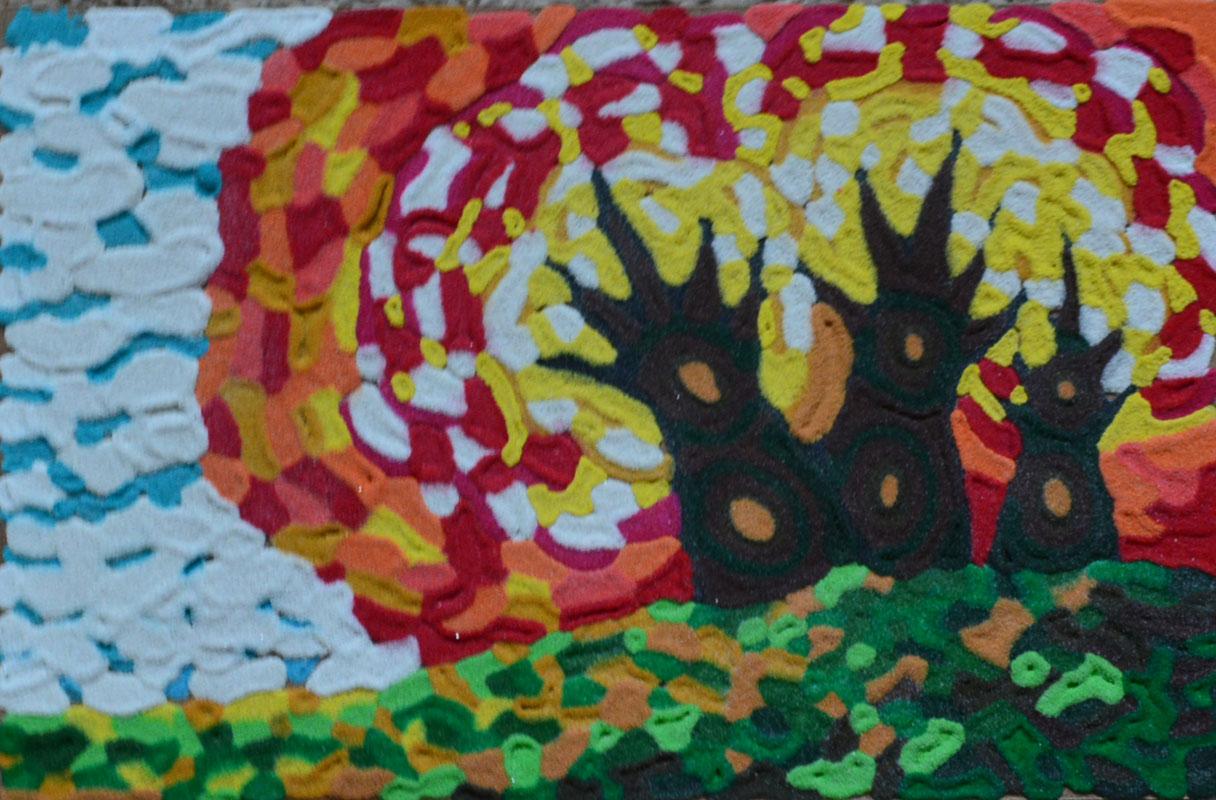 картина Огненный лес. Картина из песка, оргалит, 20х30 см