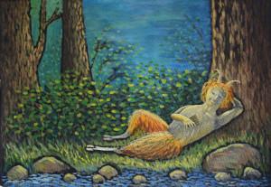 картина Послеполуденный сон фавна, холст, темпера, 40х60 см