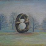 Картина Странный Генри Мур в осеннем парке, Картина, картон, сухая пастель, 30х40 см - Художник Мария Текун