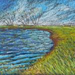 Ветер на озере. Картина, картон, масляная пастель, 115х20 см - Художник Мария Текун