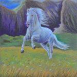 Белый конь. Картина, картон, сухая пастель, 30х30 см - Художник Мария Текун