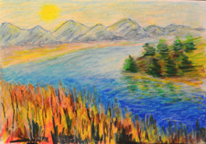 картина Осень на реке, картон, масляная пастель, 30х40 см