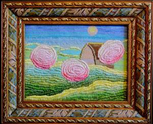 картина Рассвет в саду. Декоративная вышивка, 30х40 см