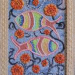 картина Рыбки. Декоративная вышивка, войлок, мулине, 30х40 см