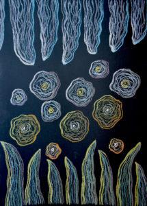 Цветение, явление второе. Картина, картон, сухая пастель, 30х40 см, - Художник Мария Текун
