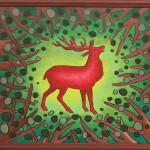 Красный олень. Картина, холст, акрил, 40х50 см - Художник Мария Текун