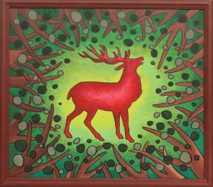 картина Красный олень. Холст, акрил, 40х50 см