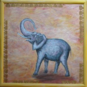 картина Белый слон. Холст, акрил, 50х50 см