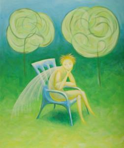картина Ангел-Хранитель. Холст, акрил, 50х60 см