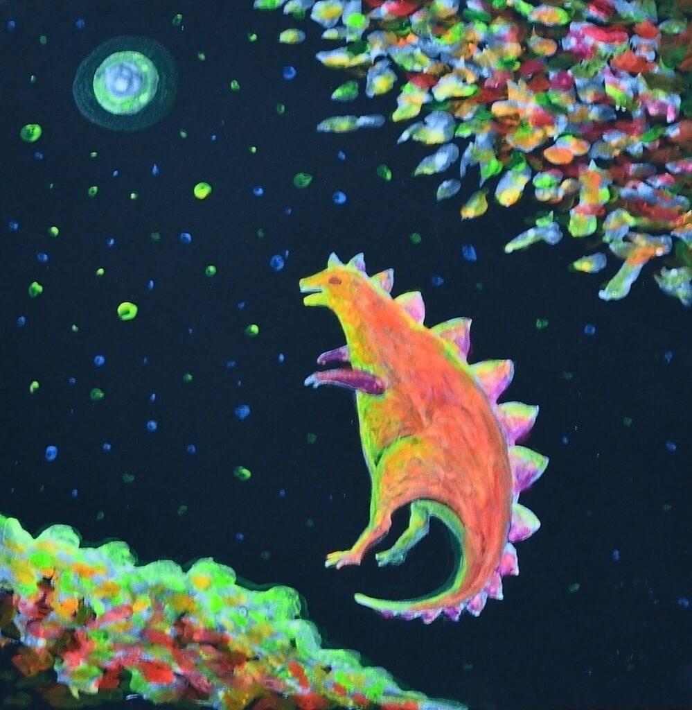 Под осенней звездой. Картина, картон, флуоресцентные краски, 30х30 см - Художник Мария Текун