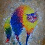 Радужный кот. Картина, холст, масло, 50х40 см, деревянный багет, 2020 г. - Художник Мария Текун