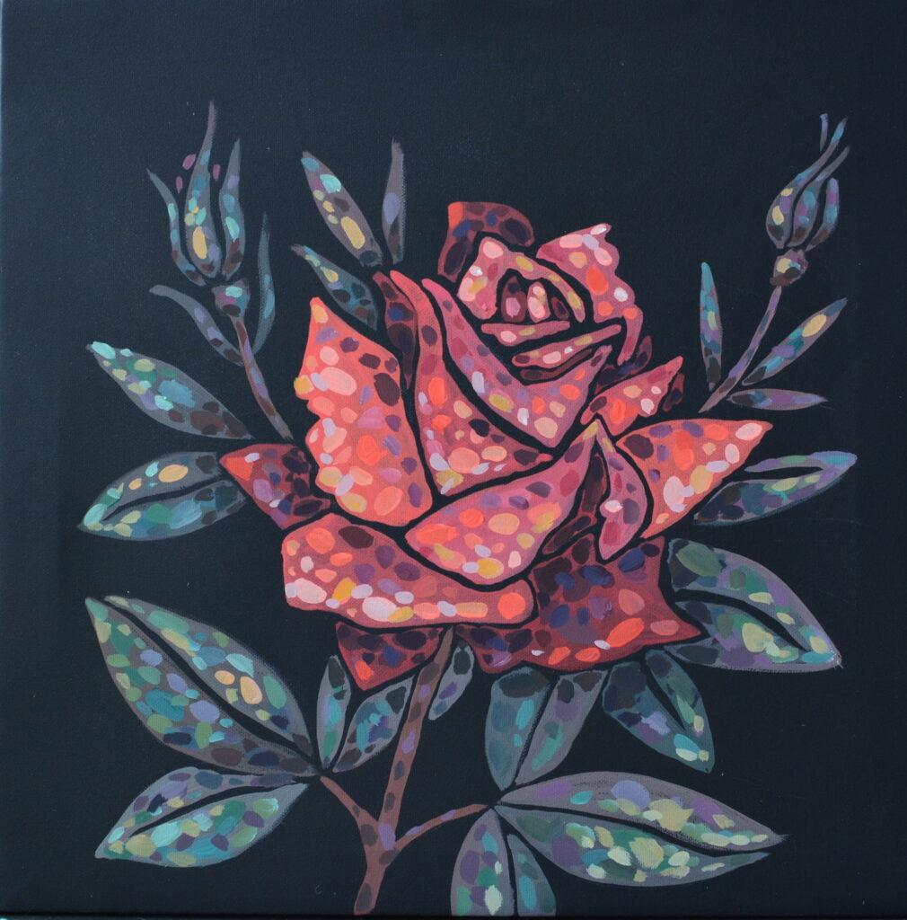 Роза картина холст на картоне, темпера, 35х35 картина художника, живопись темперой, уникальная необычная картина художник Мария Текун maryatekun.ruсм