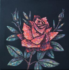 Роза. Картина, холст на подрамнике, темпера, 35х35 см, 2019 г. - Художник Мария Текун