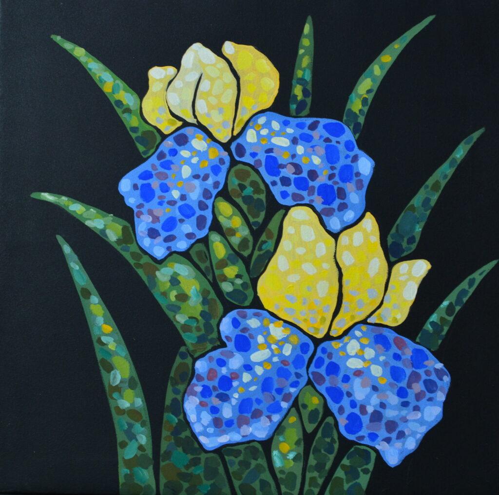 Ирис картина темперой на холсте 35х35 см картина художника, живопись темперой, уникальная необычная картина художник Мария Текун maryatekun.ru