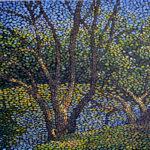 Дерево у пруда. Картина, холст, темпера, 60х70 см - Художник Мария Текун