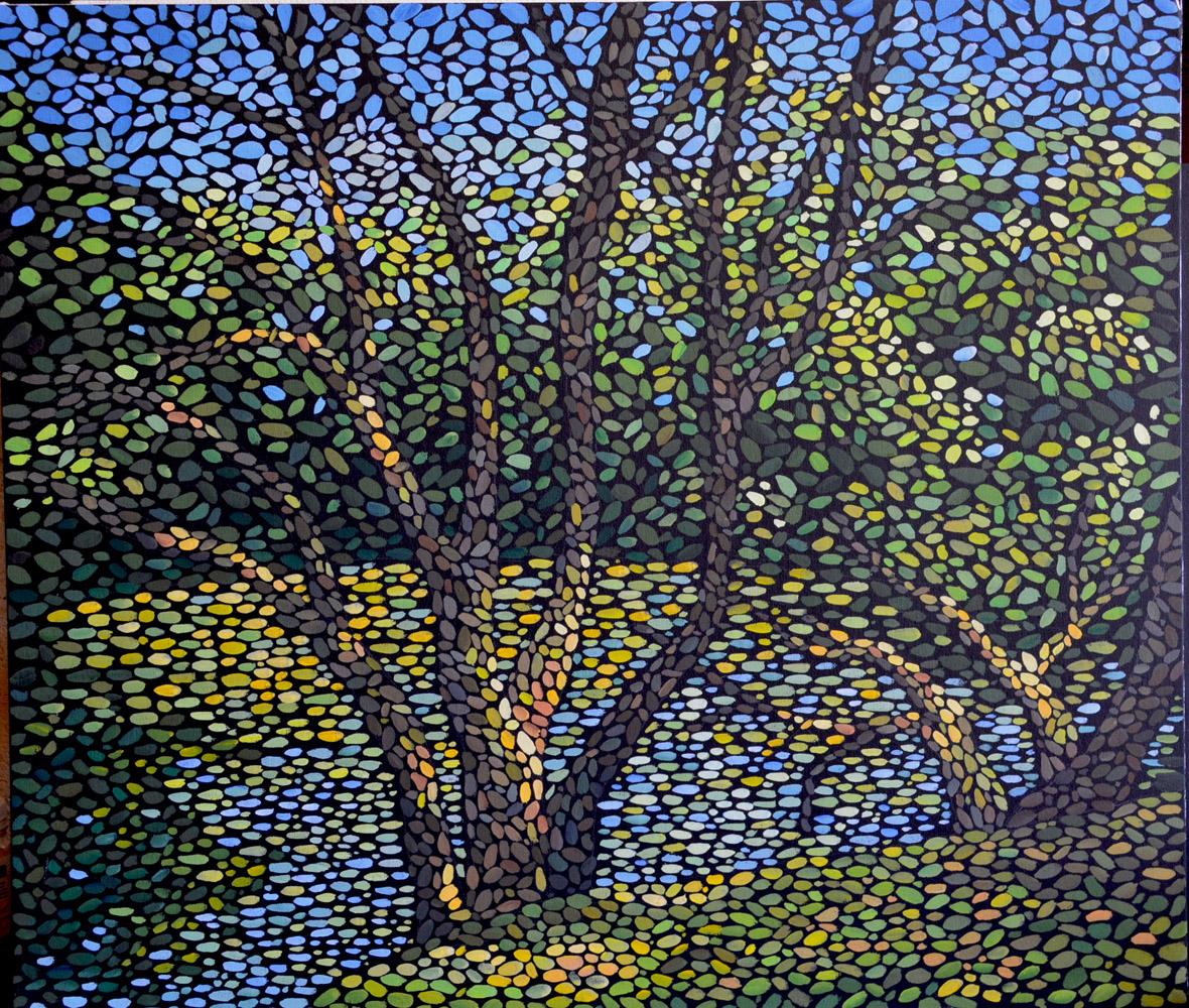 Дерево у пруда  картина темперой на холсте, картина художника, живопись темперой, уникальная необычная картина художник Мария Текун maryatekun.ru