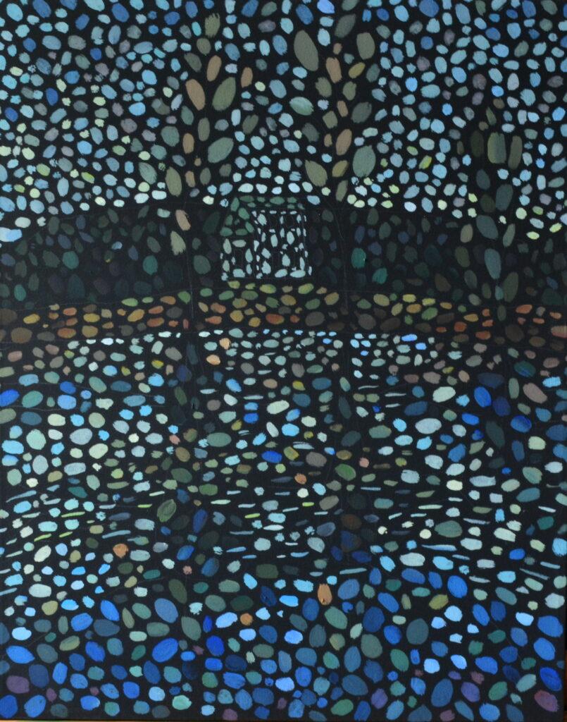 Домик на озере картина темперой, картина художника, живопись темперой, уникальная необычная картина, пейзаж домик у озера, художник Мария Текун maryatekun.ru