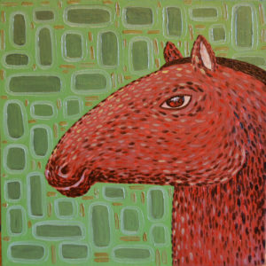 картина Голова лошади, холст, масло, 30х30 см
