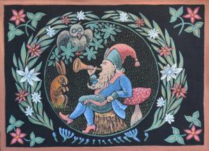 Лесной Гном. Холст, темпера, 40х60 см - Художник Мария Текун