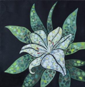 Белая лилия. Картина, холст на подрамнике, темпера, 35х35 см, 2019 г. - Художник Мария Текун