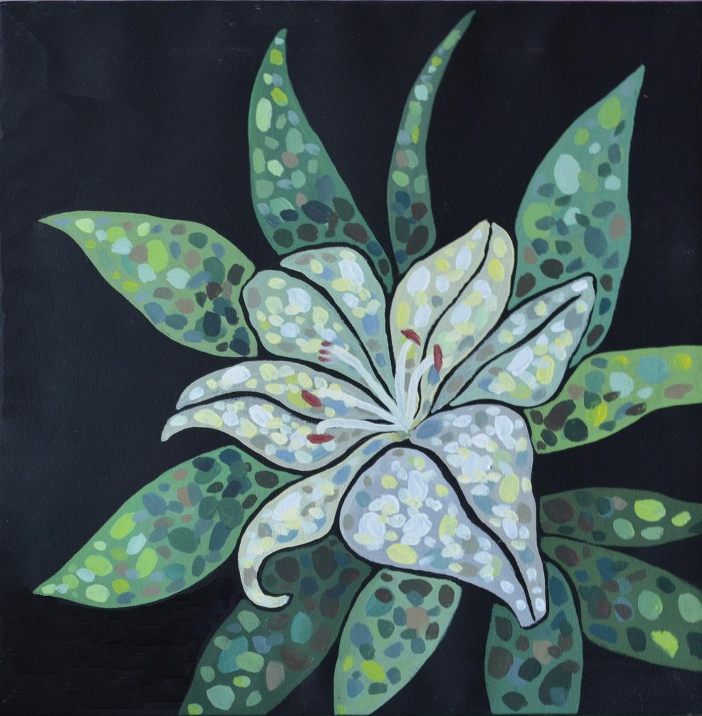 Лилия картина из серии Цветы желаний холст, темпера, 35х35 см картина темперой на холсте, картина художника, живопись темперой, уникальная необычная картина художник Мария Текун maryatekun.ru